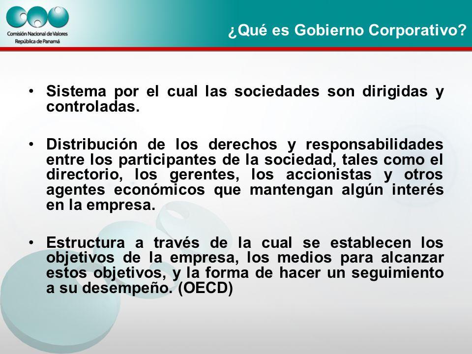 ¿Qué es Gobierno Corporativo? Sistema por el cual las sociedades son dirigidas y controladas. Distribución de los derechos y responsabilidades entre l