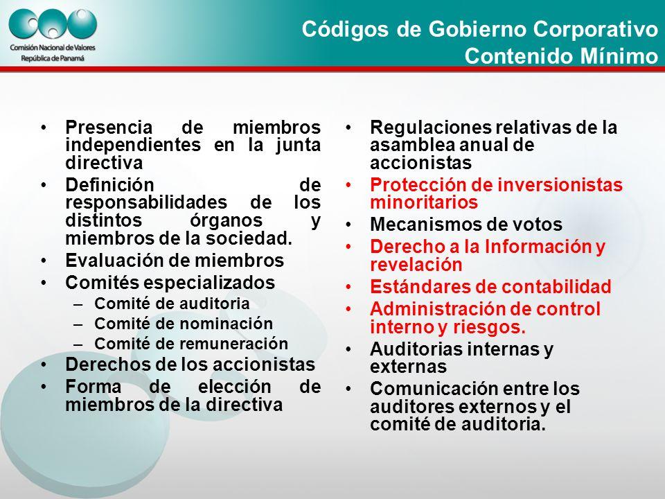 Códigos de Gobierno Corporativo Contenido Mínimo Presencia de miembros independientes en la junta directiva Definición de responsabilidades de los dis