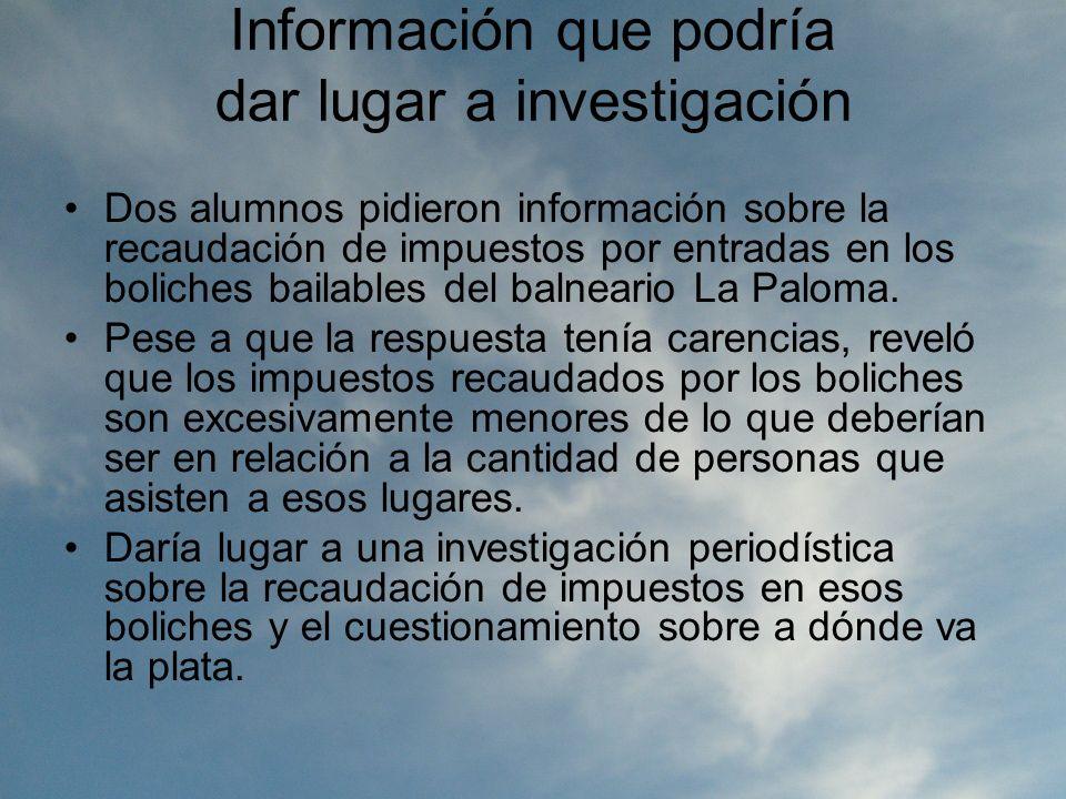 Información que podría dar lugar a investigación Dos alumnos pidieron información sobre la recaudación de impuestos por entradas en los boliches bailables del balneario La Paloma.