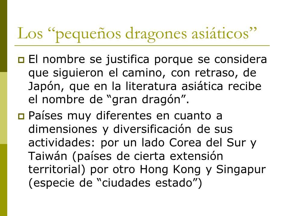 Los pequeños dragones asiáticos El nombre se justifica porque se considera que siguieron el camino, con retraso, de Japón, que en la literatura asiáti