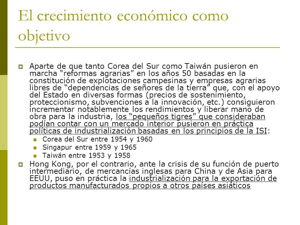 El crecimiento económico como objetivo Aparte de que tanto Corea del Sur como Taiwán pusieron en marcha reformas agrarias en los años 50 basadas en la