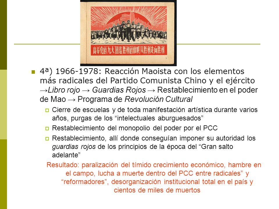 4ª) 1966-1978: Reacción Maoista con los elementos más radicales del Partido Comunista Chino y el ejércitoLibro rojo Guardias Rojos Restablecimiento en