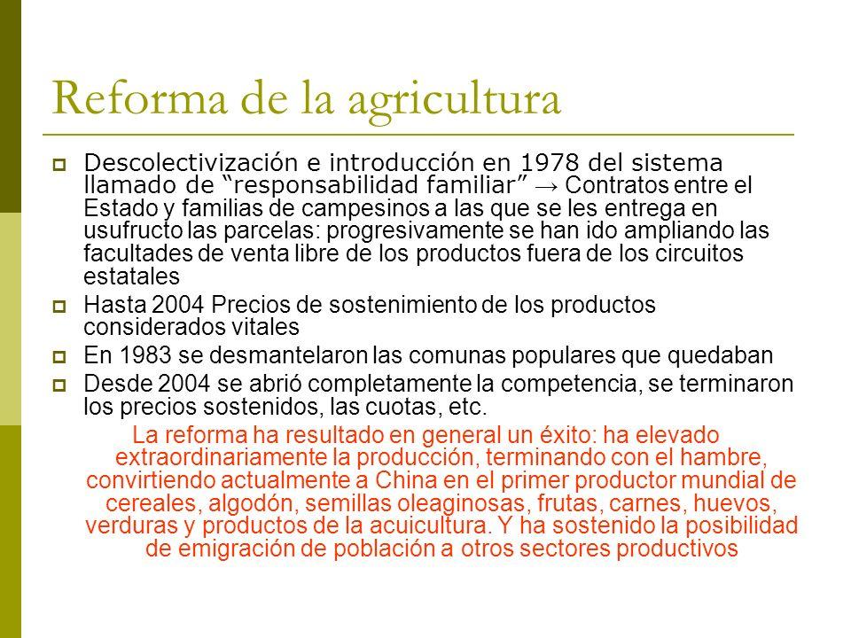 Reforma de la agricultura Descolectivización e introducción en 1978 del sistema llamado de responsabilidad familiar Contratos entre el Estado y famili