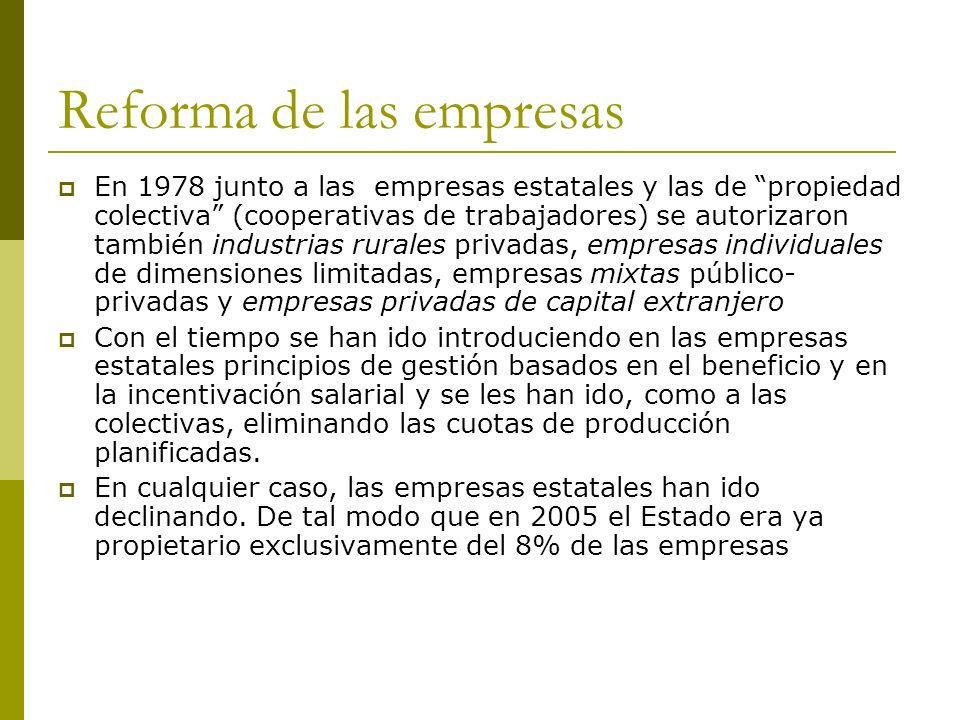Reforma de las empresas En 1978 junto a las empresas estatales y las de propiedad colectiva (cooperativas de trabajadores) se autorizaron también indu
