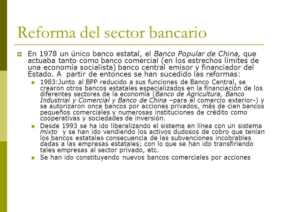 Reforma del sector bancario En 1978 un único banco estatal, el Banco Popular de China, que actuaba tanto como banco comercial (en los estrechos límite