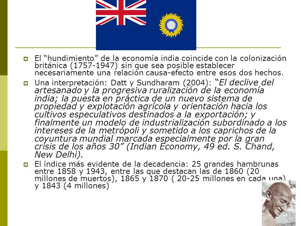 El hundimiento de la economía india coincide con la colonización británica (1757-1947) sin que sea posible establecer necesariamente una relación caus