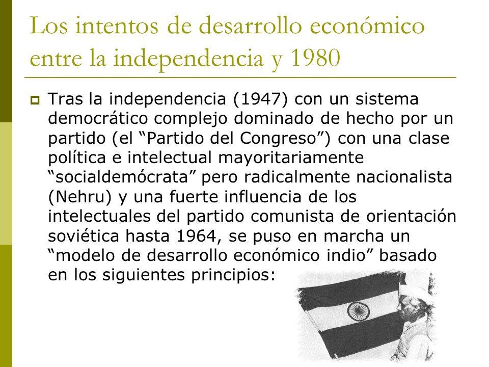 Los intentos de desarrollo económico entre la independencia y 1980 Tras la independencia (1947) con un sistema democrático complejo dominado de hecho