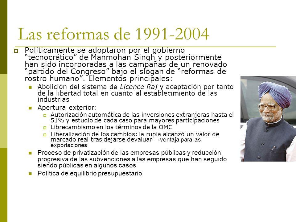 Las reformas de 1991-2004 Políticamente se adoptaron por el gobierno tecnocrático de Manmohan Singh y posteriormente han sido incorporadas a las campa