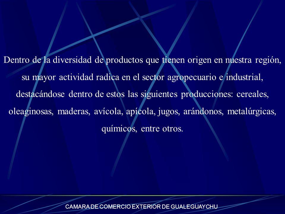 CAMARA DE COMERCIO EXTERIOR DE GUALEGUAYCHU Dentro de la diversidad de productos que tienen origen en nuestra región, su mayor actividad radica en el