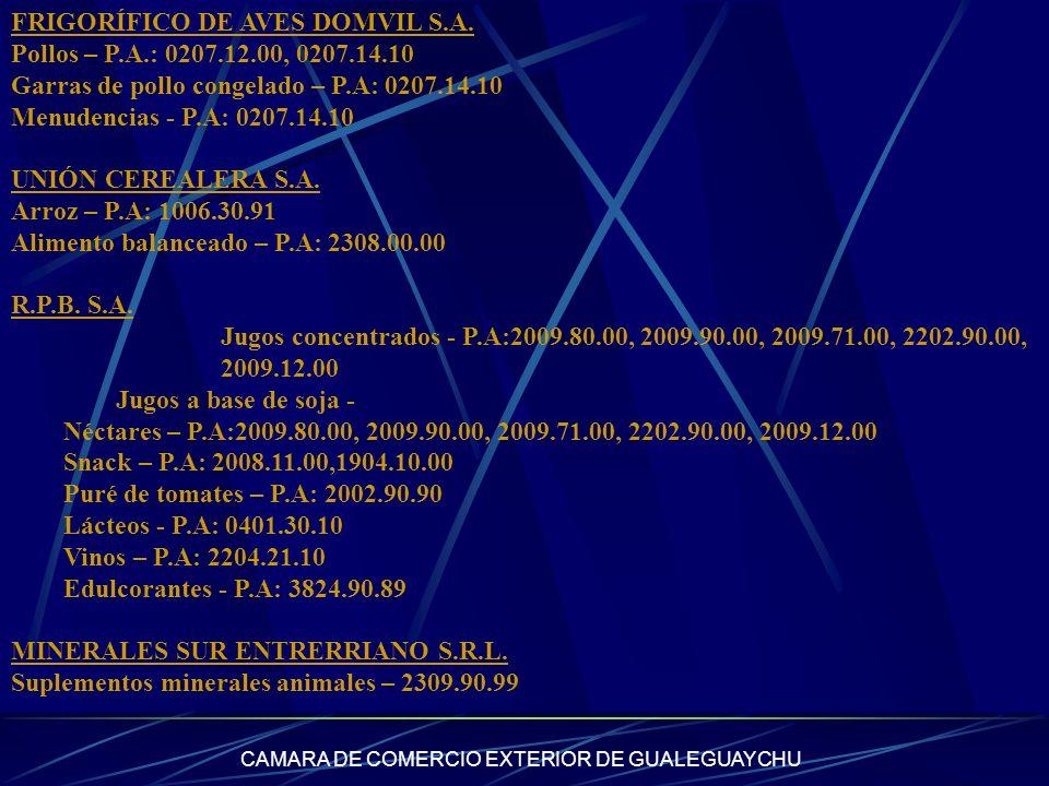 CAMARA DE COMERCIO EXTERIOR DE GUALEGUAYCHU FRIGORÍFICO DE AVES DOMVIL S.A. Pollos – P.A.: 0207.12.00, 0207.14.10 Garras de pollo congelado – P.A: 020