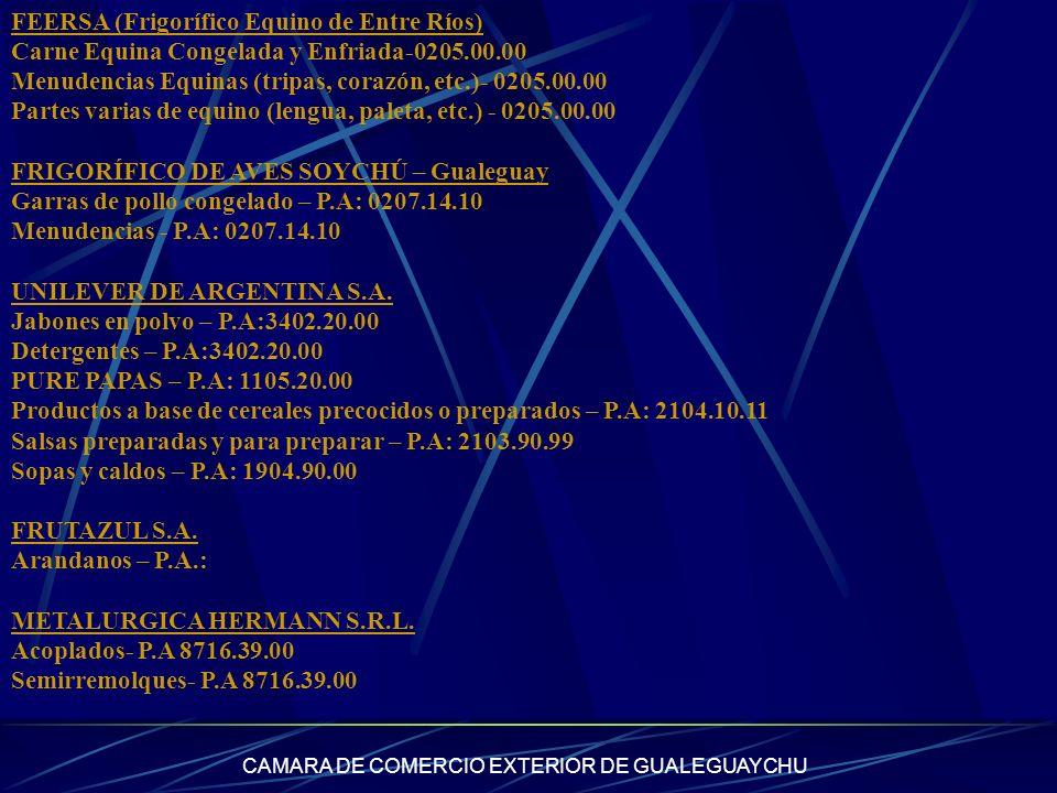 CAMARA DE COMERCIO EXTERIOR DE GUALEGUAYCHU FEERSA (Frigorífico Equino de Entre Ríos) Carne Equina Congelada y Enfriada-0205.00.00 Menudencias Equinas