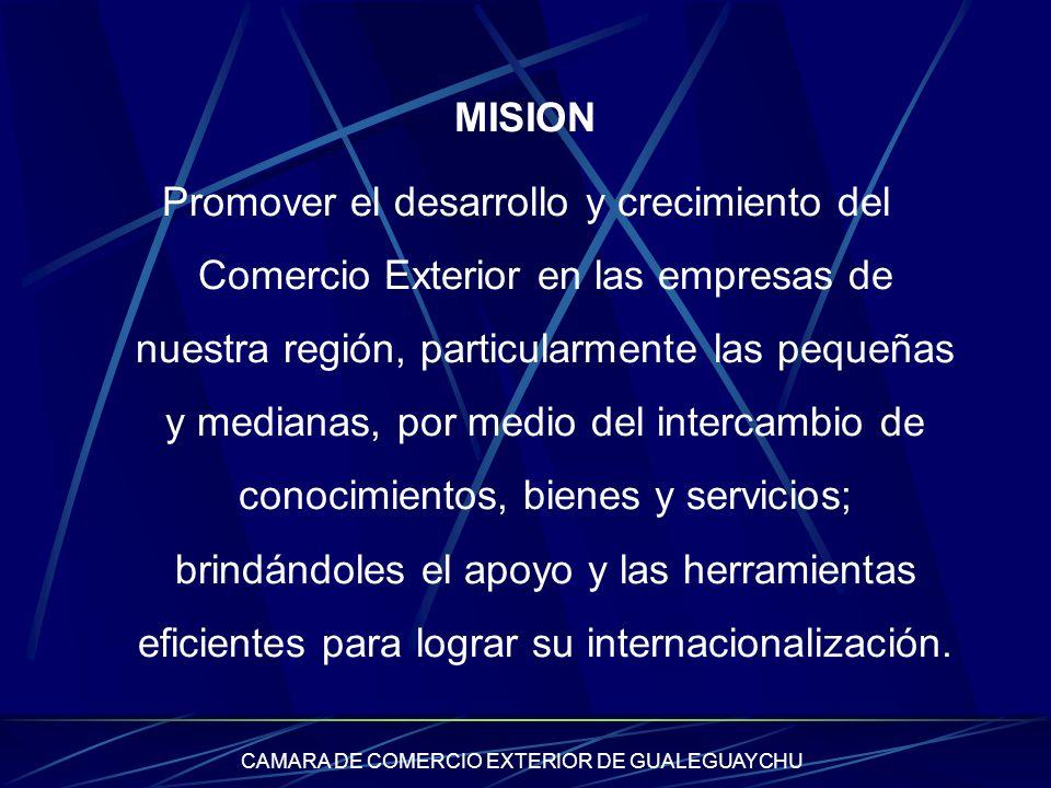CAMARA DE COMERCIO EXTERIOR DE GUALEGUAYCHU MISION Promover el desarrollo y crecimiento del Comercio Exterior en las empresas de nuestra región, parti