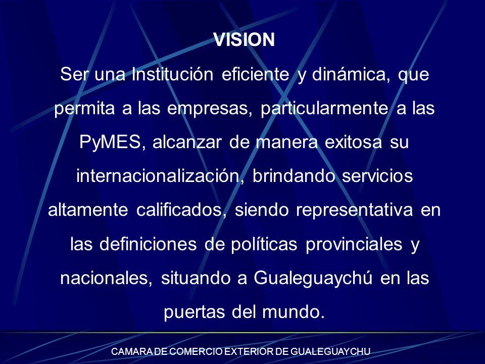 CAMARA DE COMERCIO EXTERIOR DE GUALEGUAYCHU VISION Ser una Institución eficiente y dinámica, que permita a las empresas, particularmente a las PyMES,