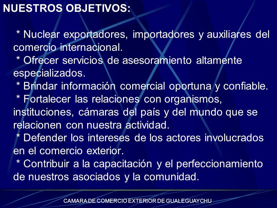 CAMARA DE COMERCIO EXTERIOR DE GUALEGUAYCHU NUESTROS OBJETIVOS: * Nuclear exportadores, importadores y auxiliares del comercio internacional. * Ofrece