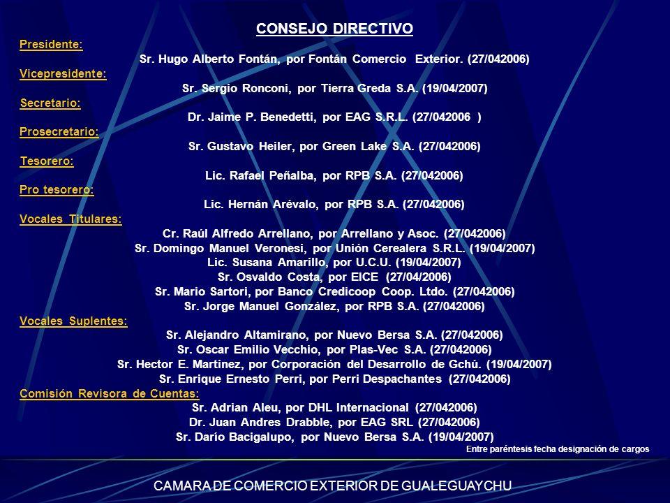 CAMARA DE COMERCIO EXTERIOR DE GUALEGUAYCHU CONSEJO DIRECTIVO Presidente: Sr. Hugo Alberto Fontán, por Fontán Comercio Exterior. (27/042006) Vicepresi