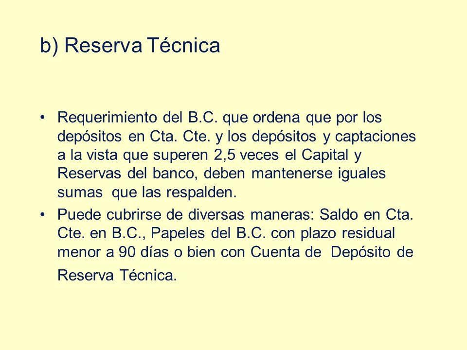 b) Reserva Técnica Requerimiento del B.C. que ordena que por los depósitos en Cta. Cte. y los depósitos y captaciones a la vista que superen 2,5 veces