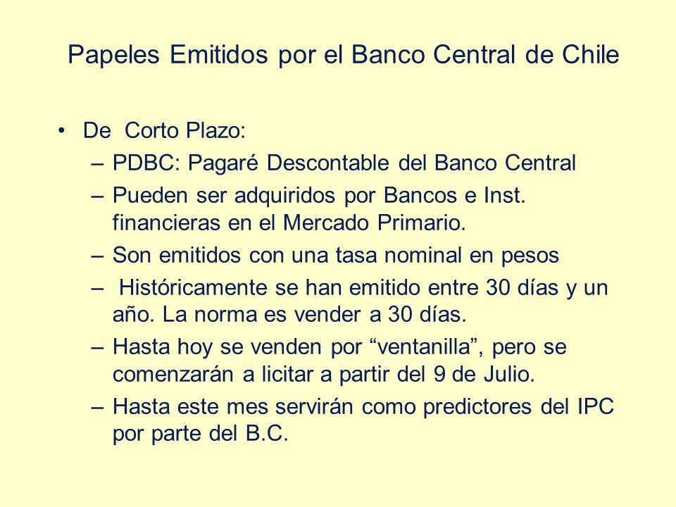 Papeles Emitidos por el Banco Central de Chile De Corto Plazo: –PDBC: Pagaré Descontable del Banco Central –Pueden ser adquiridos por Bancos e Inst. f