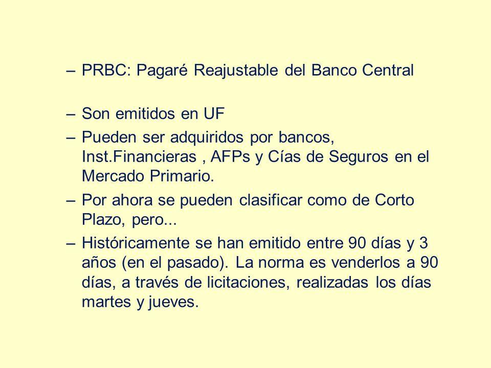 –PRBC: Pagaré Reajustable del Banco Central –Son emitidos en UF –Pueden ser adquiridos por bancos, Inst.Financieras, AFPs y Cías de Seguros en el Merc