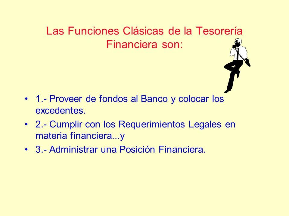 Las Funciones Clásicas de la Tesorería Financiera son: 1.- Proveer de fondos al Banco y colocar los excedentes. 2.- Cumplir con los Requerimientos Leg