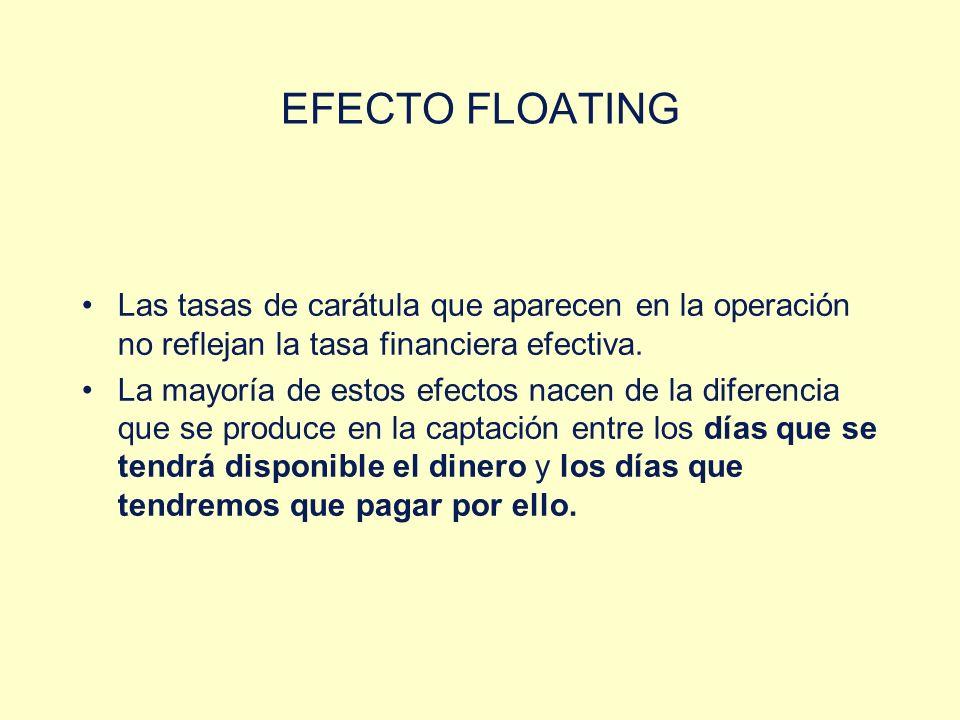 EFECTO FLOATING Las tasas de carátula que aparecen en la operación no reflejan la tasa financiera efectiva. La mayoría de estos efectos nacen de la di