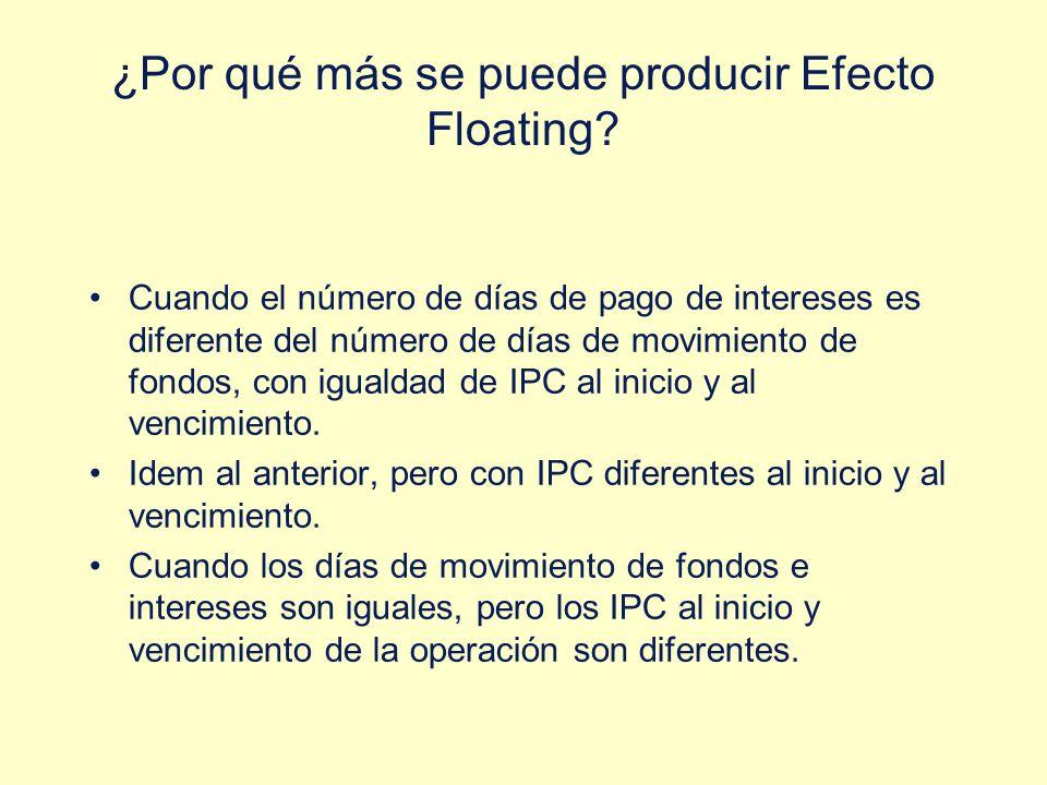 ¿Por qué más se puede producir Efecto Floating? Cuando el número de días de pago de intereses es diferente del número de días de movimiento de fondos,