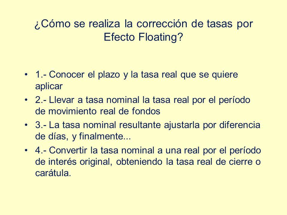 ¿Cómo se realiza la corrección de tasas por Efecto Floating? 1.- Conocer el plazo y la tasa real que se quiere aplicar 2.- Llevar a tasa nominal la ta