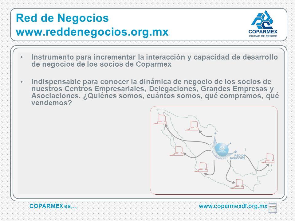COPARMEX es…www.coparmexdf.org.mx Red de Negocios www.reddenegocios.org.mx Instrumento para incrementar la interacción y capacidad de desarrollo de ne