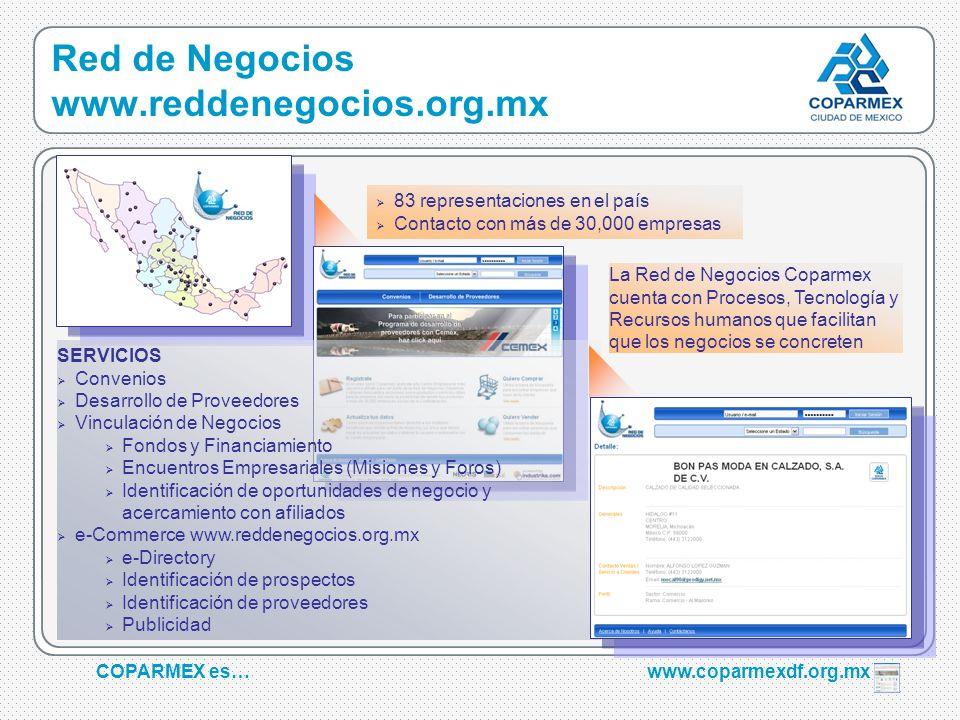 COPARMEX es…www.coparmexdf.org.mx SERVICIOS Convenios Desarrollo de Proveedores Vinculación de Negocios Fondos y Financiamiento Encuentros Empresarial