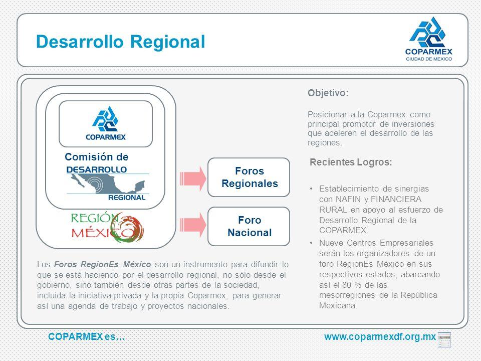 COPARMEX es…www.coparmexdf.org.mx Desarrollo Regional Comisión de Objetivo: Posicionar a la Coparmex como principal promotor de inversiones que aceler