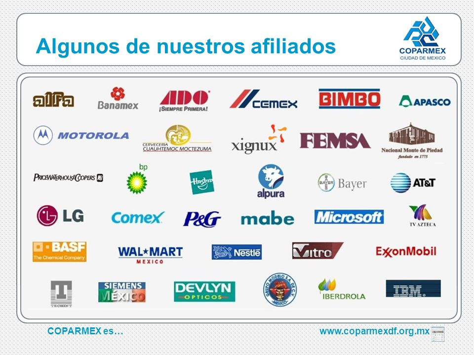 COPARMEX es…www.coparmexdf.org.mx Algunos de nuestros afiliados