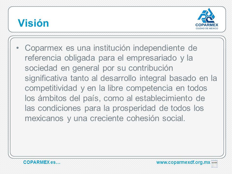 COPARMEX es…www.coparmexdf.org.mx Visión Coparmex es una institución independiente de referencia obligada para el empresariado y la sociedad en genera