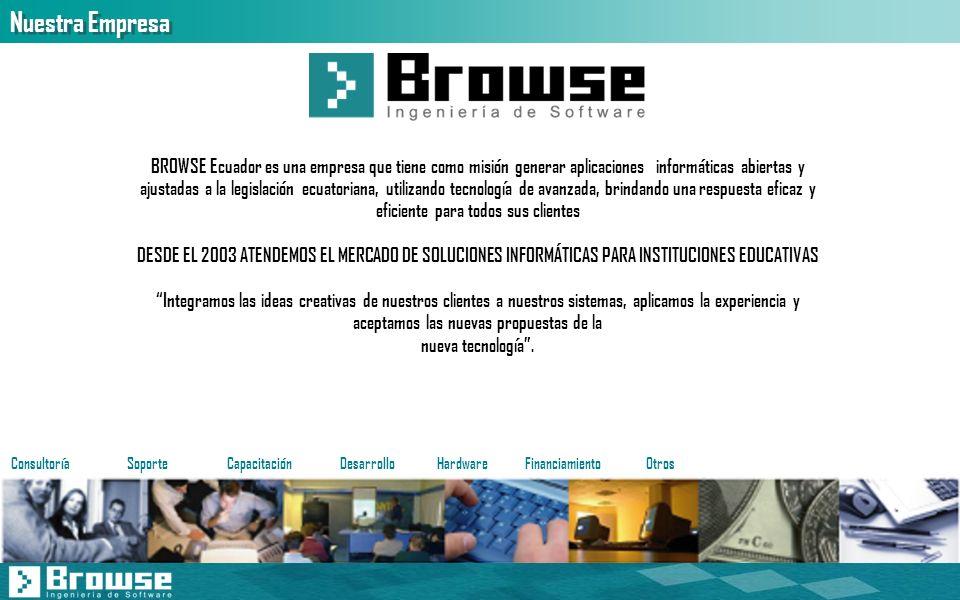 Nuestra Empresa BROWSE Ecuador es una empresa que tiene como misión generar aplicaciones informáticas abiertas y ajustadas a la legislación ecuatorian