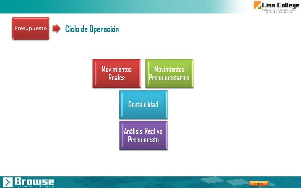 menú Ciclo de Operación Movimientos Reales Movimientos Presupuestarios Análisis Real vs Presupuesto Contabilidad Presupuesto