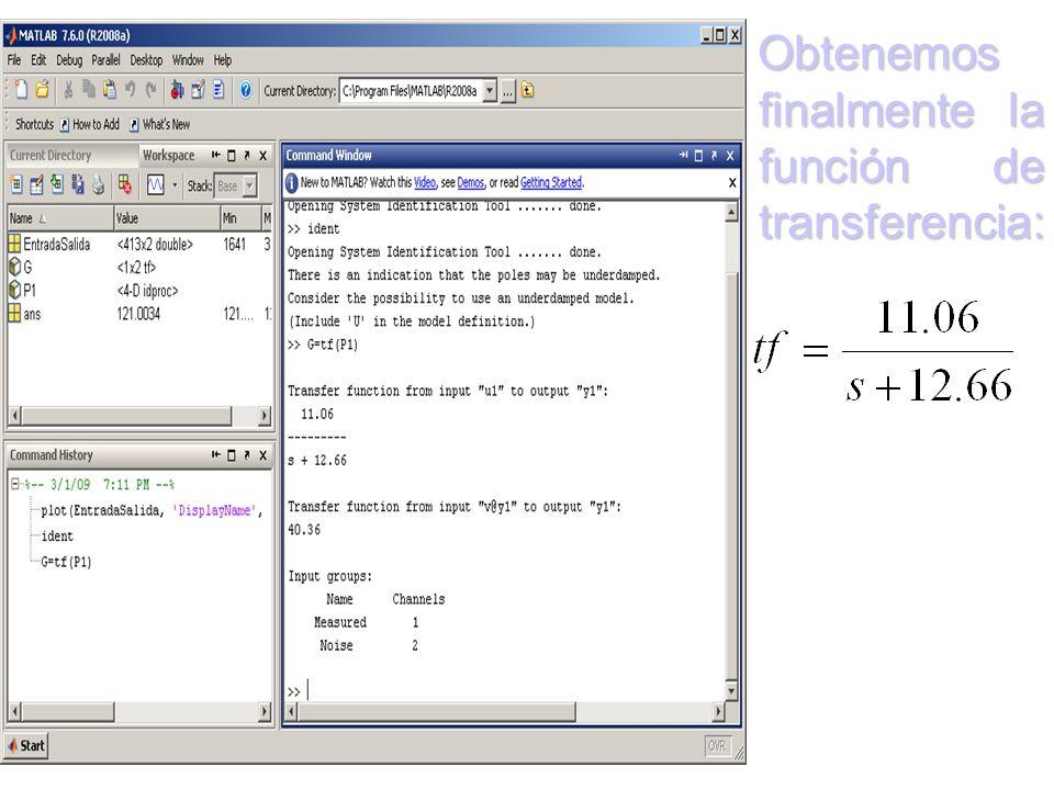 Para poder escoger la función más próxima a la real, se realizan varias aproximaciones, y para este propósito usamos: 1.Con un polo 2.Con dos polos 3.