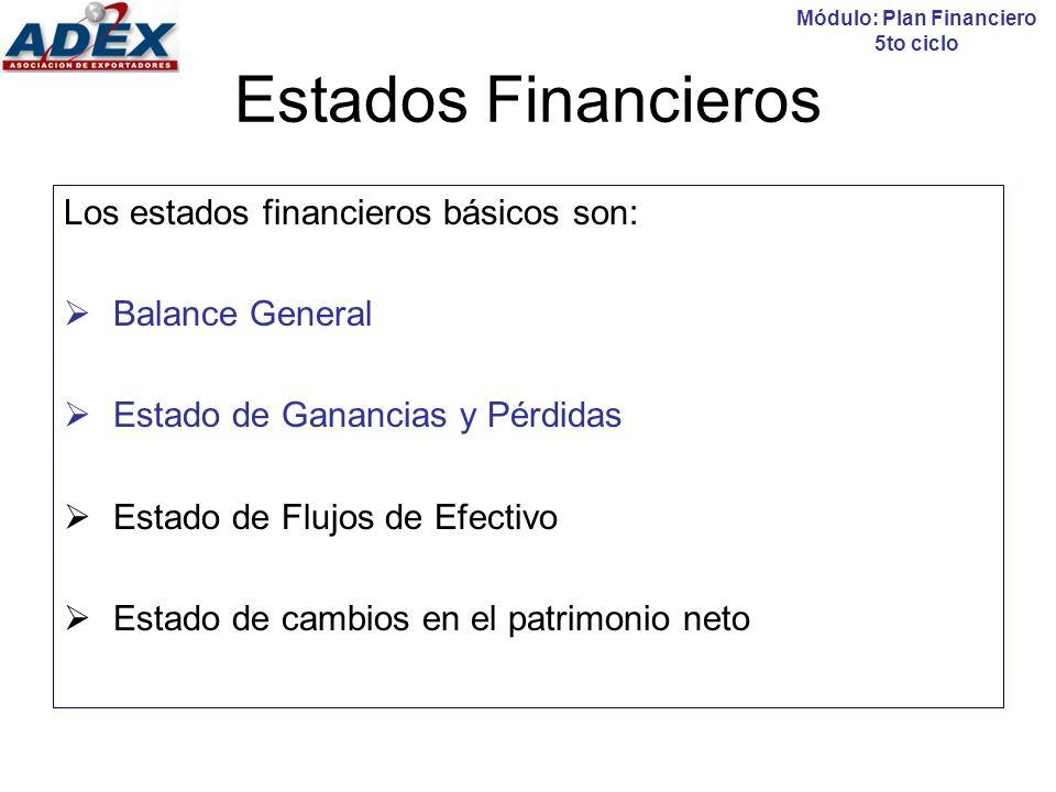 Balance General Módulo: Plan Financiero 5to ciclo