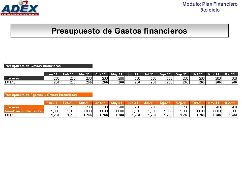 CONSOLIDACIÓN: Presupuesto de Resultados Módulo: Plan Financiero 5to ciclo