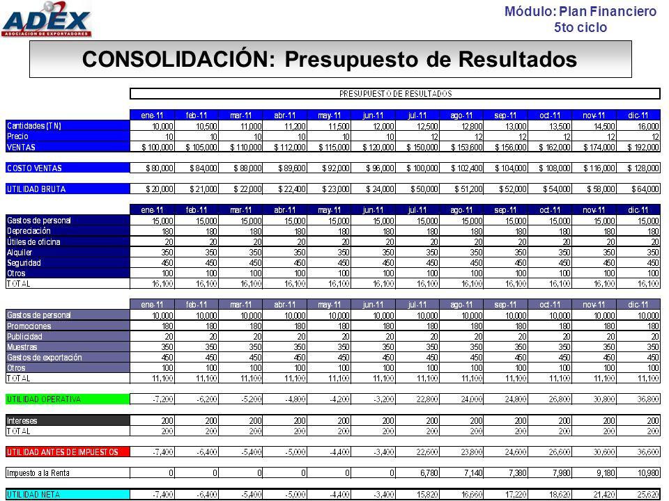 CONSOLIDACIÓN: Presupuesto de Caja