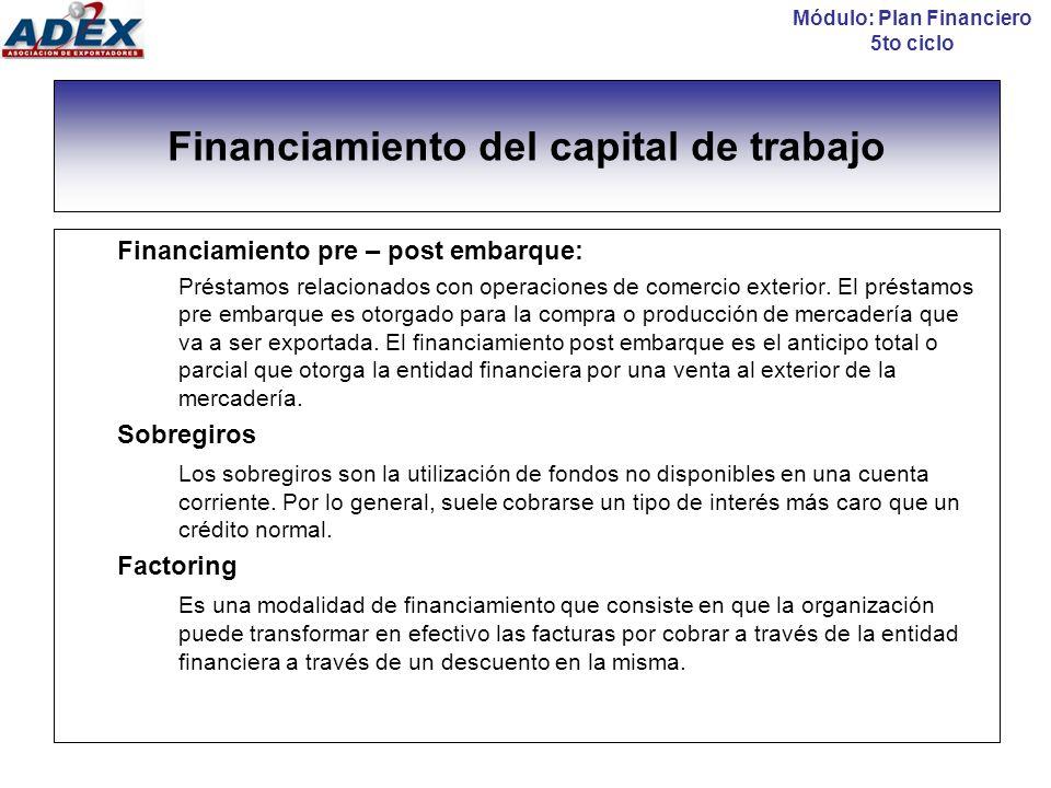 El factoring Módulo: Plan Financiero 5to ciclo