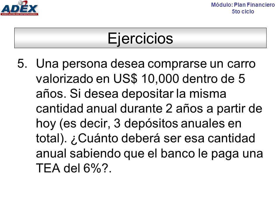 Ejercicios Módulo: Plan Financiero 5to ciclo 5.Una persona desea comprarse un carro valorizado en US$ 10,000 dentro de 5 años.