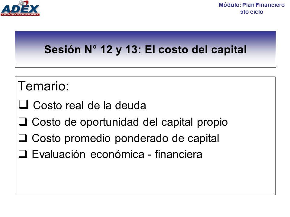 El costo del capital El costo del capital de una empresa proviene de dos fuentes: El costo neto/real de la deuda (K d ) El costo del capital propio (K e - COK) Módulo: Plan Financiero 5to ciclo