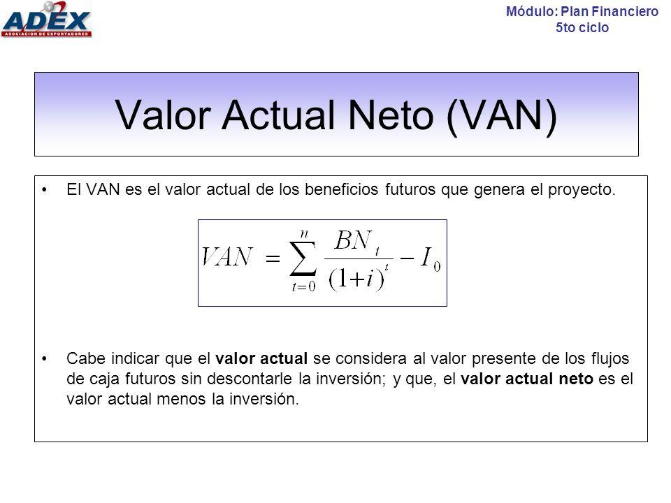 Valor Actual Neto (VAN) Módulo: Plan Financiero 5to ciclo Criterio de decisión: VAN > 0 : Indica que se obtendrá una riqueza adicional por encima de lo invertido.