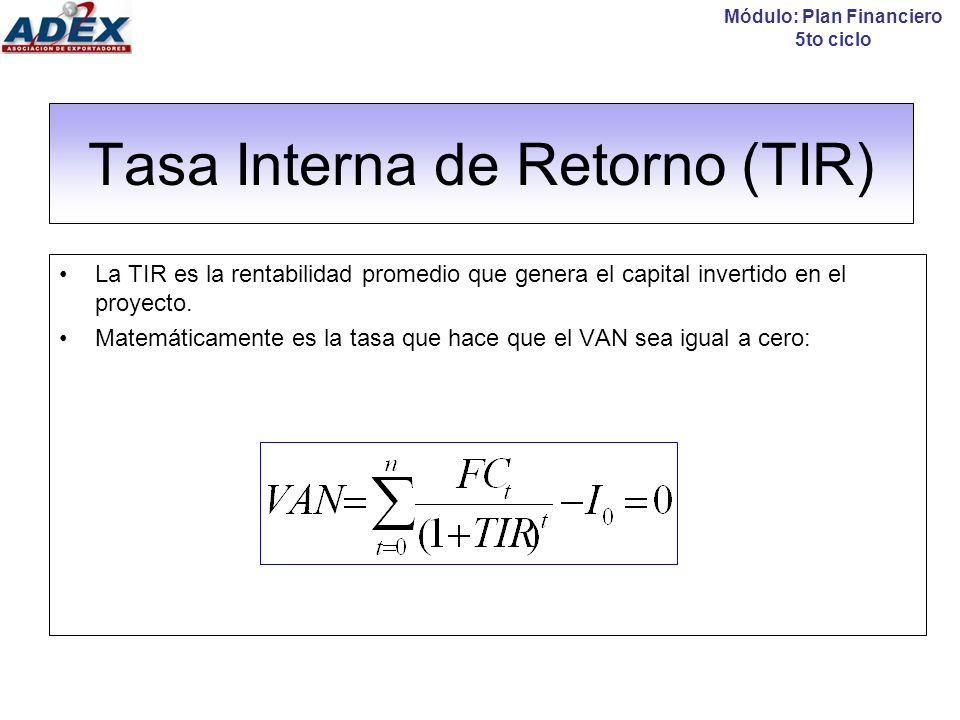 Tasa Interna de Retorno (TIR): Cálculo Criterio de decisión: Evaluación económica (a través de la TIR económica) TIR > WACC: El proyecto es rentable porque su rendimiento es mayor que el mínimo aceptable.
