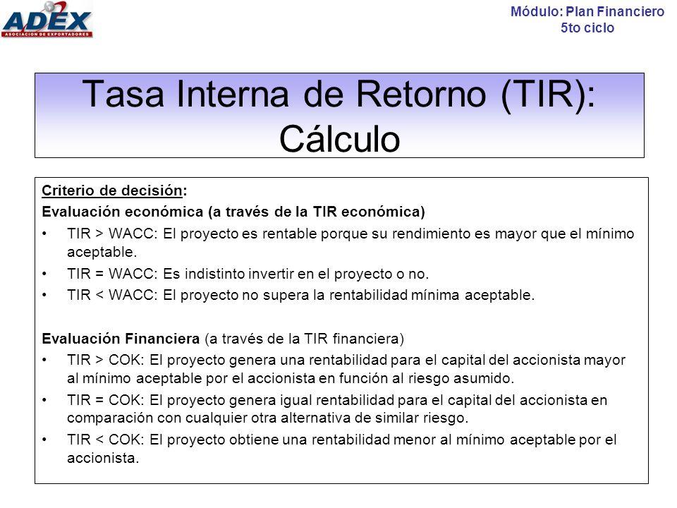 Tasa Interna de Retorno (TIR): Cálculo Existen 3 formas de calcular la TIR: Con el excel =TIR( ) Con el uso de una calculadora financiera Por interpolación Módulo: Plan Financiero 5to ciclo