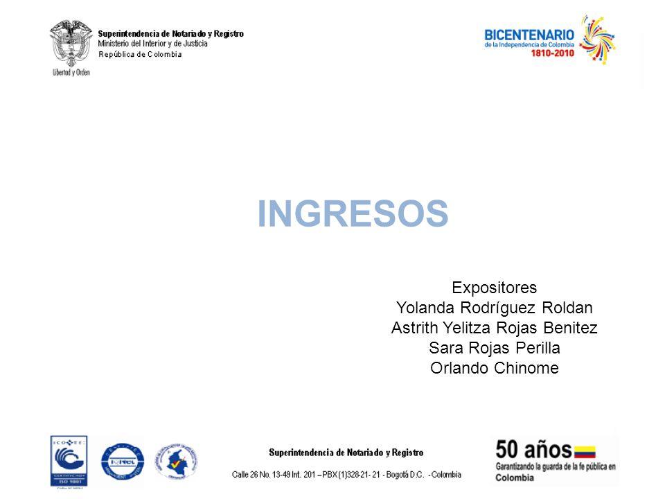 INGRESOS Expositores Yolanda Rodríguez Roldan Astrith Yelitza Rojas Benitez Sara Rojas Perilla Orlando Chinome