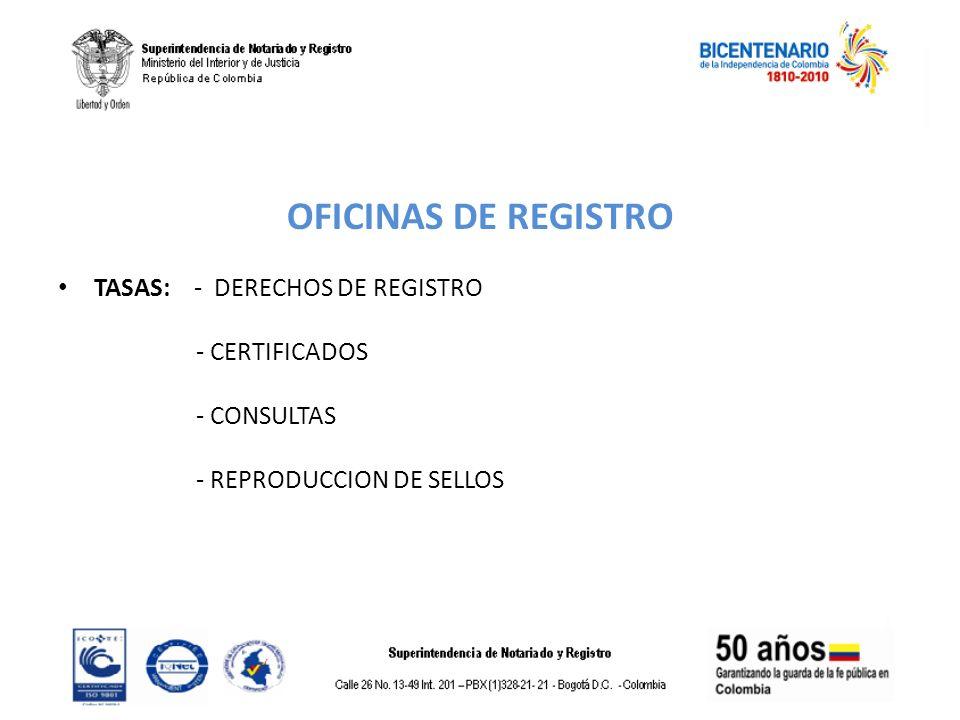 OFICINAS DE REGISTRO TASAS: - DERECHOS DE REGISTRO - CERTIFICADOS - CONSULTAS - REPRODUCCION DE SELLOS