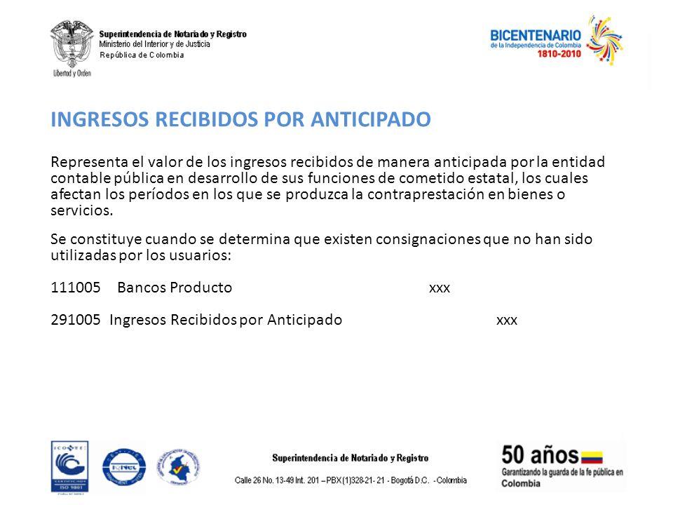 INGRESOS RECIBIDOS POR ANTICIPADO Representa el valor de los ingresos recibidos de manera anticipada por la entidad contable pública en desarrollo de