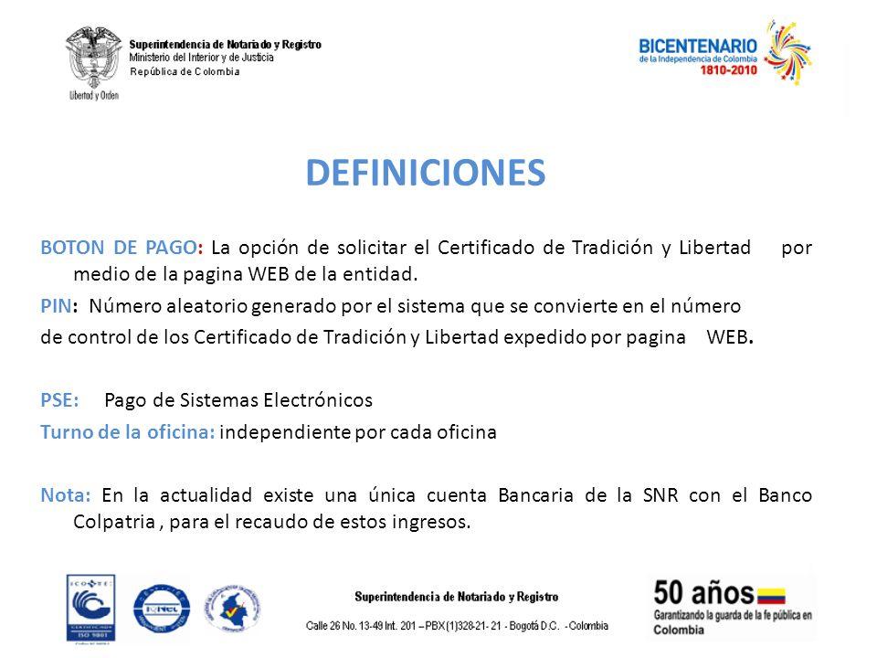 DEFINICIONES BOTON DE PAGO: La opción de solicitar el Certificado de Tradición y Libertad por medio de la pagina WEB de la entidad. PIN: Número aleato