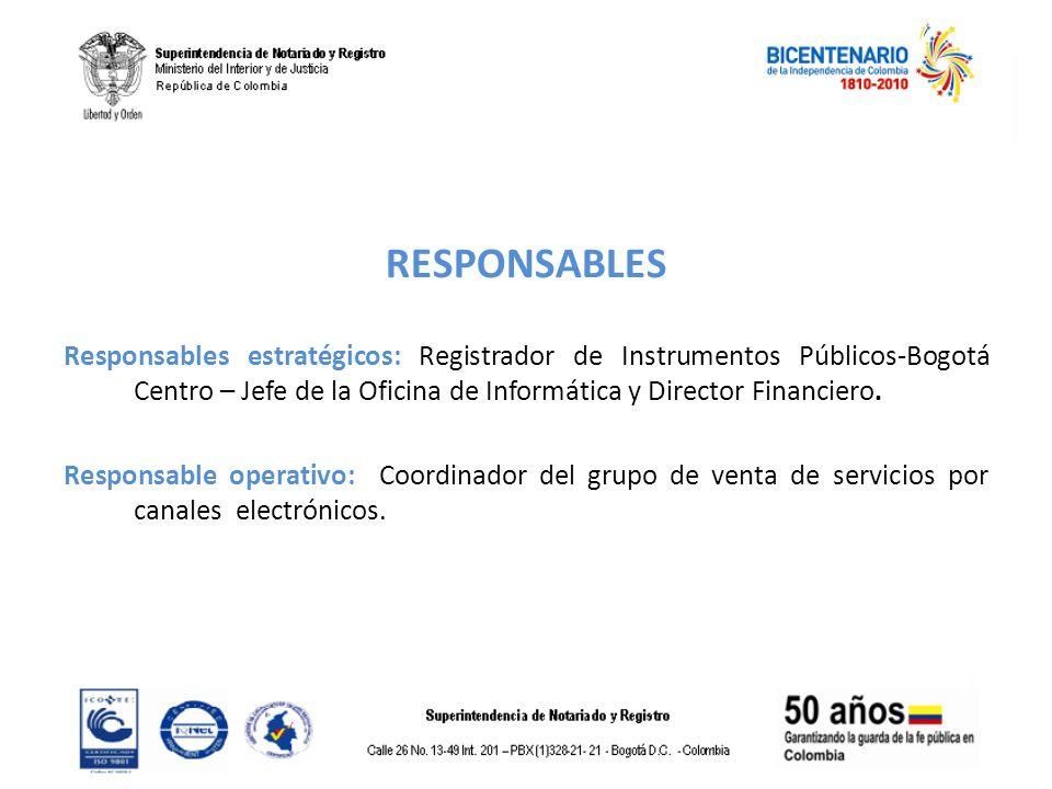 RESPONSABLES Responsables estratégicos: Registrador de Instrumentos Públicos-Bogotá Centro – Jefe de la Oficina de Informática y Director Financiero.