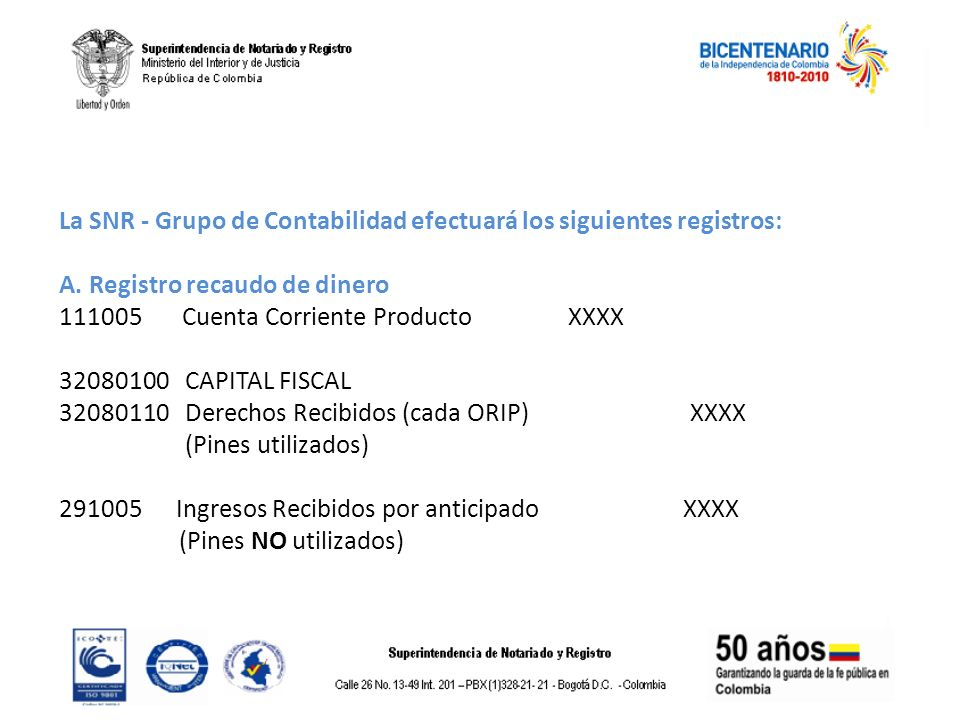 La SNR - Grupo de Contabilidad efectuará los siguientes registros: A. Registro recaudo de dinero 111005 Cuenta Corriente Producto XXXX 32080100 CAPITA