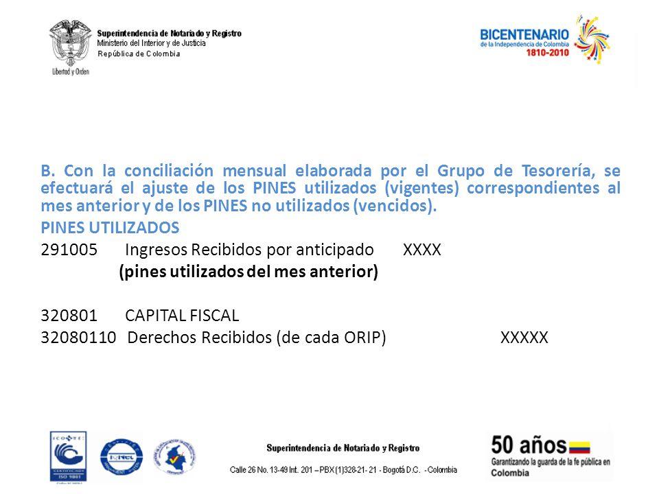 B. Con la conciliación mensual elaborada por el Grupo de Tesorería, se efectuará el ajuste de los PINES utilizados (vigentes) correspondientes al mes